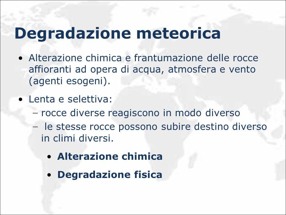 Degradazione meteorica Alterazione chimica e frantumazione delle rocce affioranti ad opera di acqua, atmosfera e vento (agenti esogeni). Lenta e selet