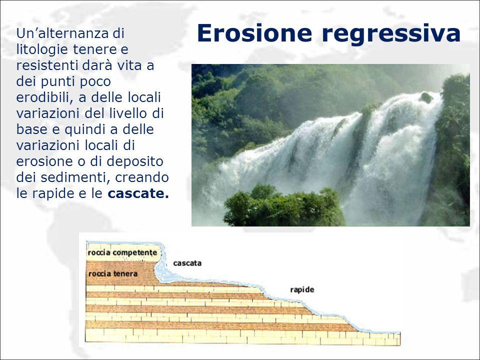 Unalternanza di litologie tenere e resistenti darà vita a dei punti poco erodibili, a delle locali variazioni del livello di base e quindi a delle var