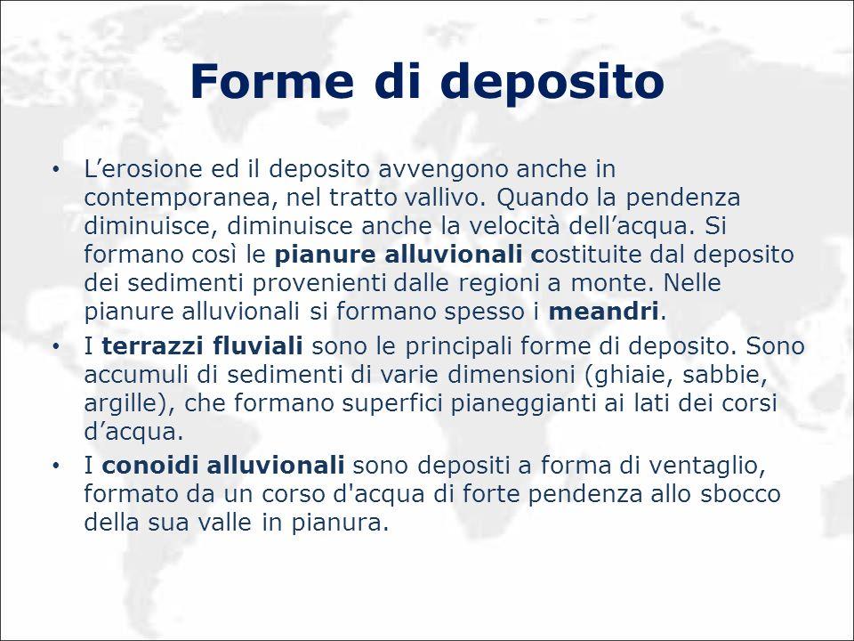 Forme di deposito Lerosione ed il deposito avvengono anche in contemporanea, nel tratto vallivo. Quando la pendenza diminuisce, diminuisce anche la ve