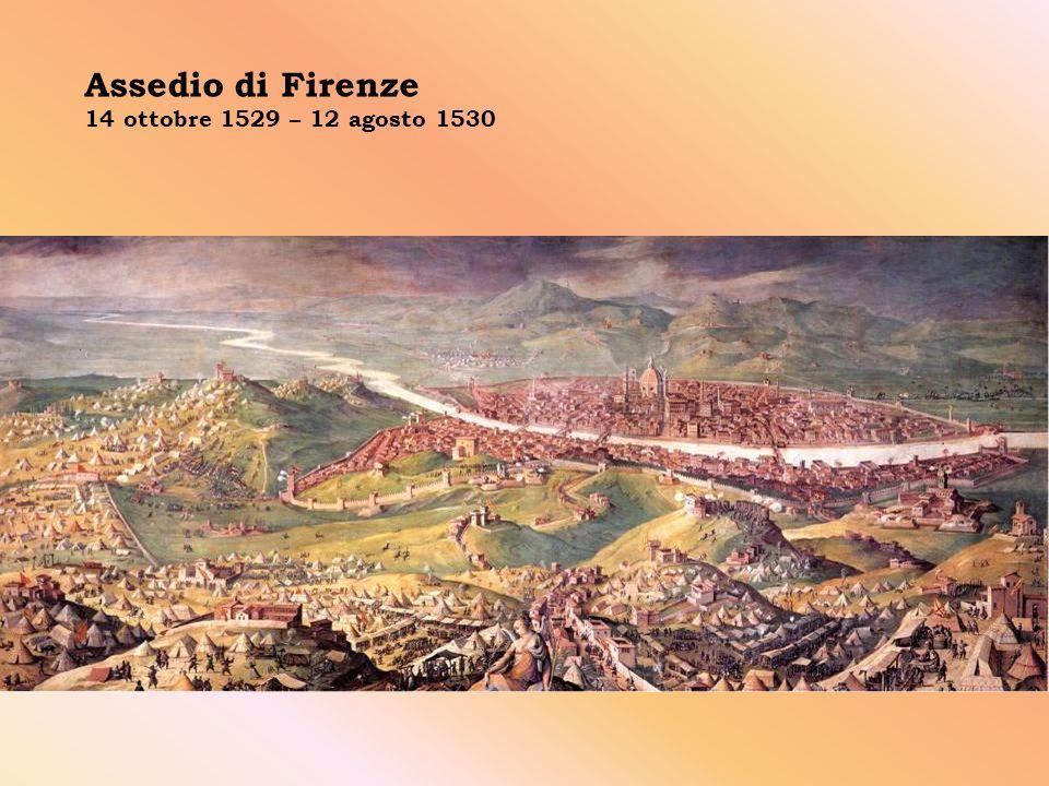 L assedio di Firenze avvenne tra il 1529 e il 1530, dopo che il Pontefice Clemente VII si mise d accordo con l Imperatore Carlo V (per una coincidenza dinastica anche re di Spagna) per riconquistare Firenze: le truppe imperiali assediarono Firenze allo scopo di ristabilire la famiglia Medici sul trono ducale.