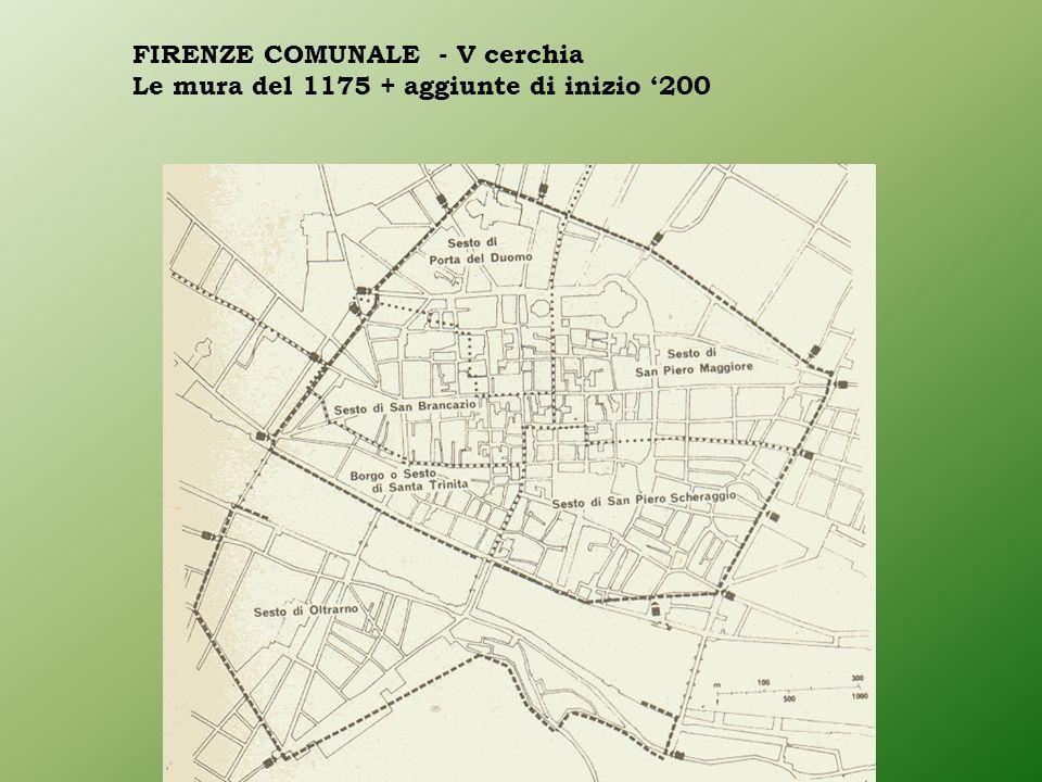 FIRENZE COMUNALE - V cerchia Le mura del 1175 + aggiunte di inizio 200