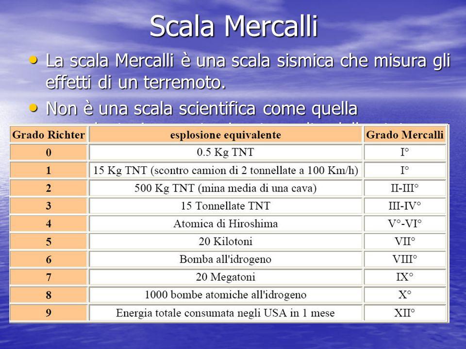 Scala Mercalli La scala Mercalli è una scala sismica che misura gli effetti di un terremoto. La scala Mercalli è una scala sismica che misura gli effe