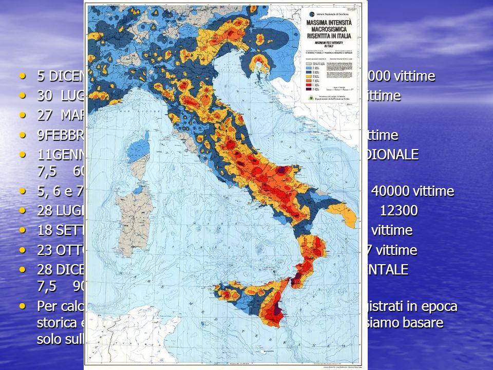 5 DICEMBRE 1456 IRPINIA,MATESE,SANNIO 7,1 30000 vittime 5 DICEMBRE 1456 IRPINIA,MATESE,SANNIO 7,1 30000 vittime 30 LUGLIO 1627 PUGLIA ( GARGANO ) 7,1