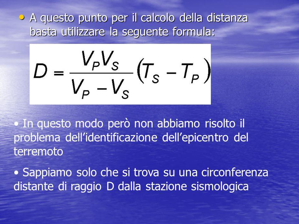A questo punto per il calcolo della distanza basta utilizzare la seguente formula: A questo punto per il calcolo della distanza basta utilizzare la se