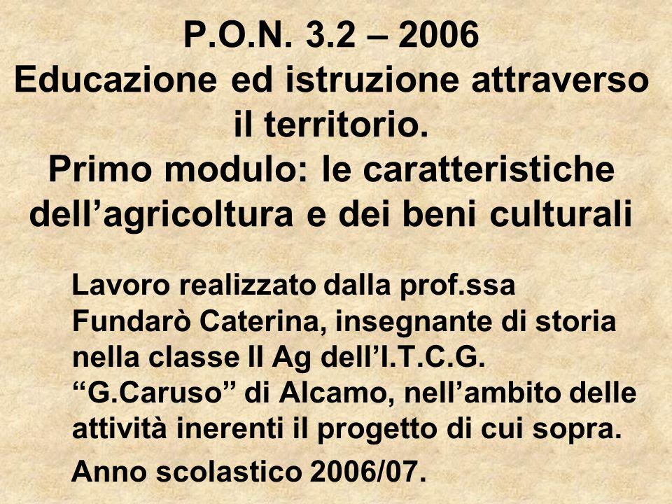 P.O.N. 3.2 – 2006 Educazione ed istruzione attraverso il territorio. Primo modulo: le caratteristiche dellagricoltura e dei beni culturali Lavoro real