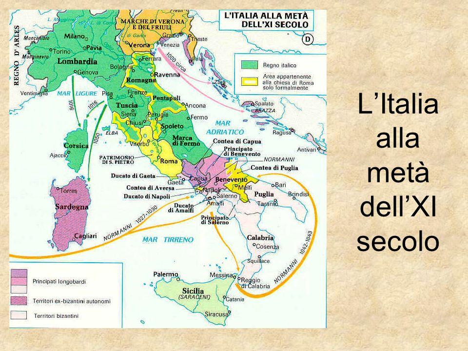 La famiglia degli Altavilla I normanni, per darsi una direzione politica, si affidarono alla famiglia degli Altavilla guidata da Guglielmo Braccio di ferro che portò un radicale cambiamento all interno dell assetto politico-territoriale del Mezzogiorno.