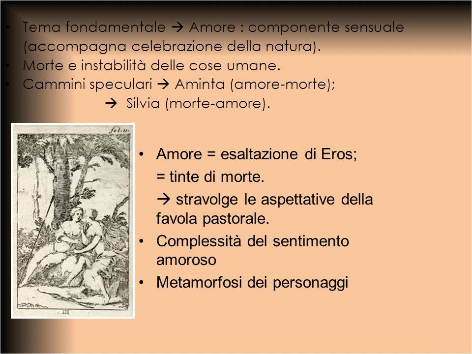 Tema fondamentale Amore : componente sensuale (accompagna celebrazione della natura). Morte e instabilità delle cose umane. Cammini speculari Aminta (