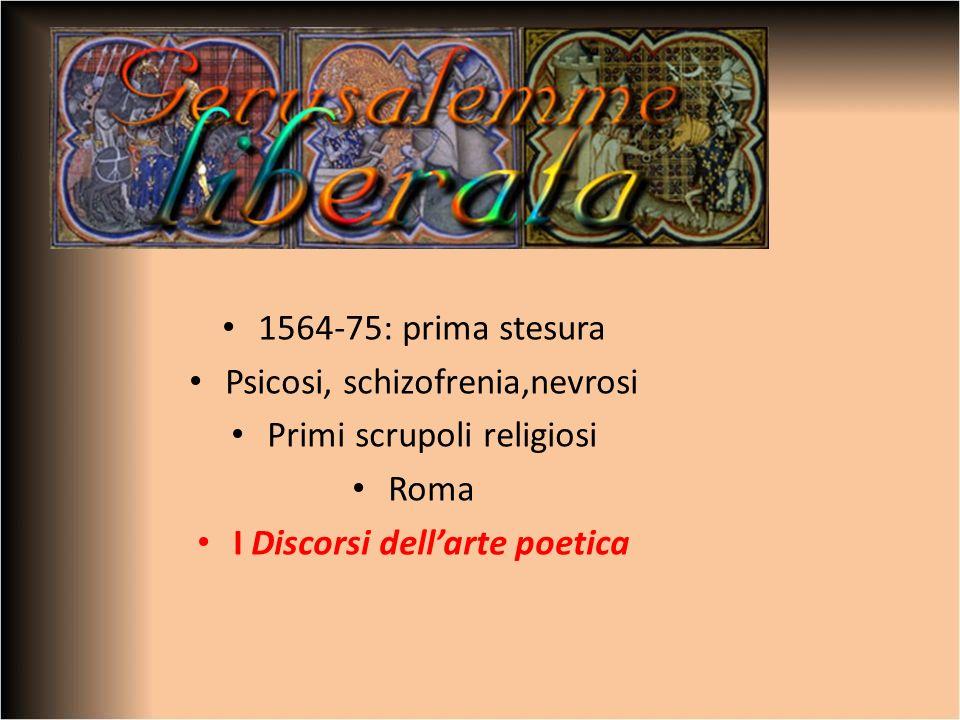 1564-75: prima stesura Psicosi, schizofrenia,nevrosi Primi scrupoli religiosi Roma I Discorsi dellarte poetica