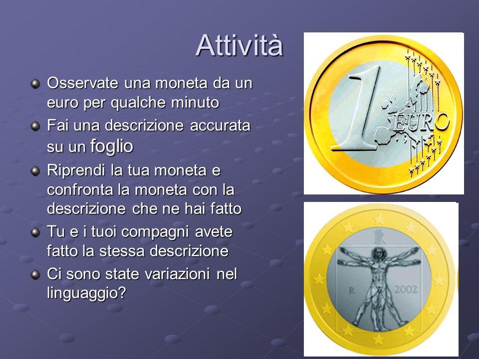 Attività Osservate una moneta da un euro per qualche minuto Fai una descrizione accurata su un foglio Riprendi la tua moneta e confronta la moneta con