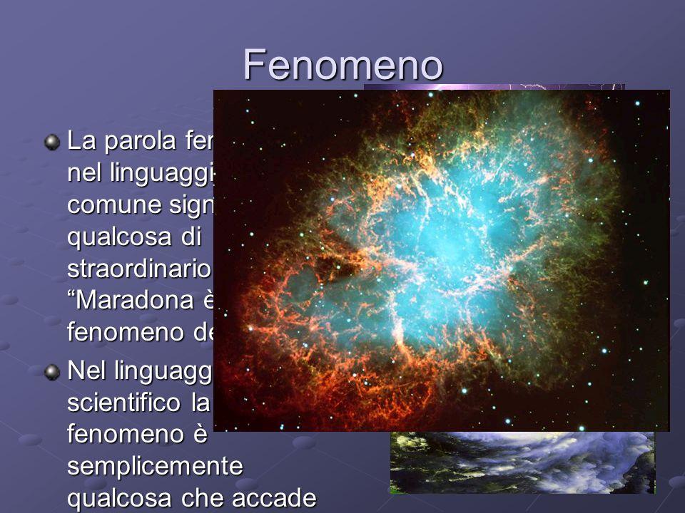 Fenomeno La parola fenomeno nel linguaggio comune significa qualcosa di straordinario Maradona è stato un fenomeno del calcio Nel linguaggio scientifico la parola fenomeno è semplicemente qualcosa che accade