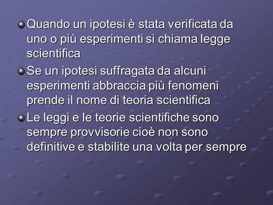 Quando un ipotesi è stata verificata da uno o più esperimenti si chiama legge scientifica Se un ipotesi suffragata da alcuni esperimenti abbraccia più fenomeni prende il nome di teoria scientifica Le leggi e le teorie scientifiche sono sempre provvisorie cioè non sono definitive e stabilite una volta per sempre