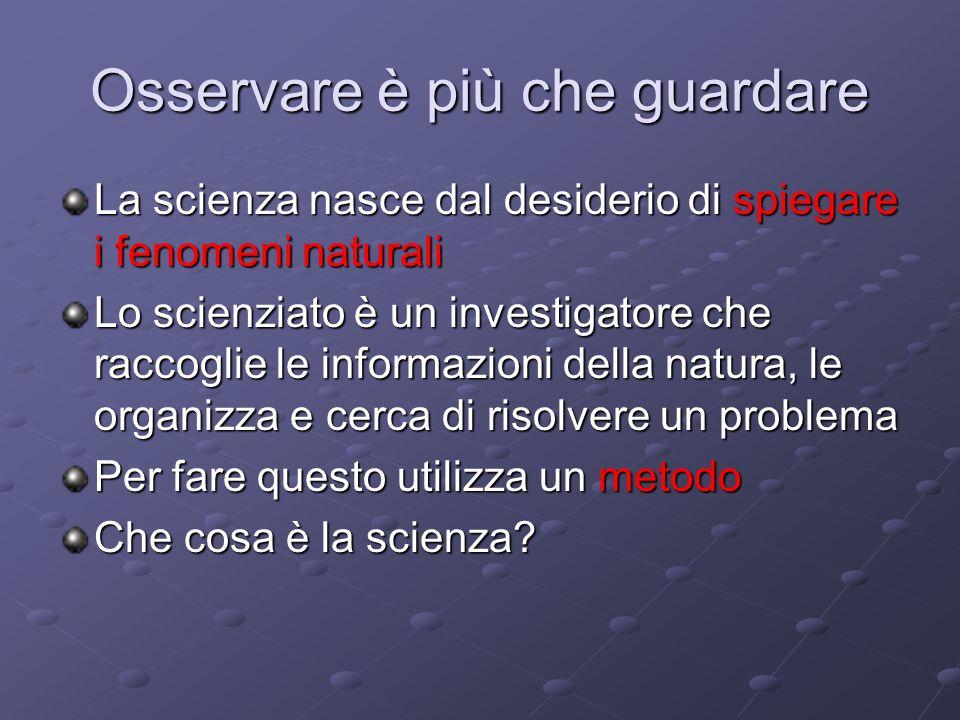 Losservazione Osservare ciò che accade intorno a noi è il primo passo della scienza Cosa significa osservare.