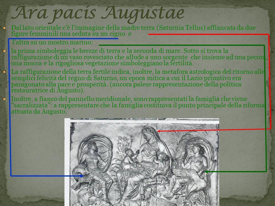 Dal lato orientale cè limmagine della madre terra (Saturnia Tellus) affiancata da due figure femminili una seduta su un cigno e laltra su un mostro ma