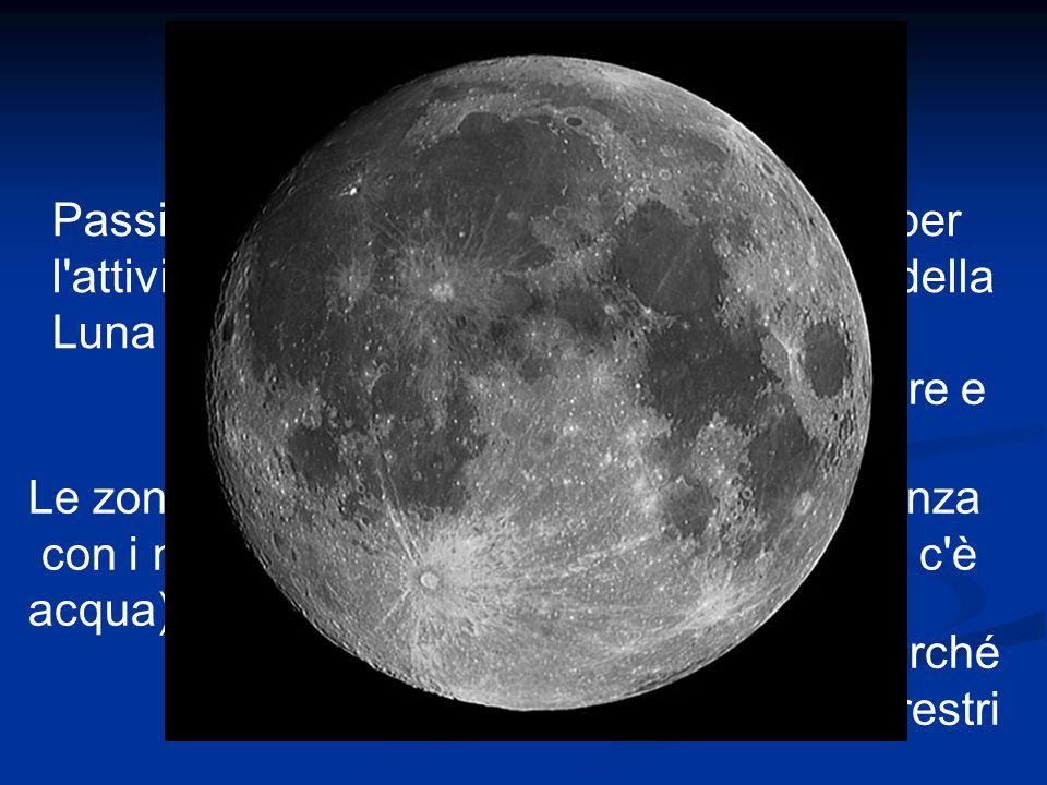 Passiamo ora alla parte più interessante per l attività pratica: le strutture morfologiche della Luna Sulla Luna distinguiamo zone chiare e zone scure Le zone scure sono i mari per la somiglianza con i mari terrestri (in realtà sulla luna non c è acqua) Le zone chiare sono i continenti perché assomigliano alle terre emerse terrestri