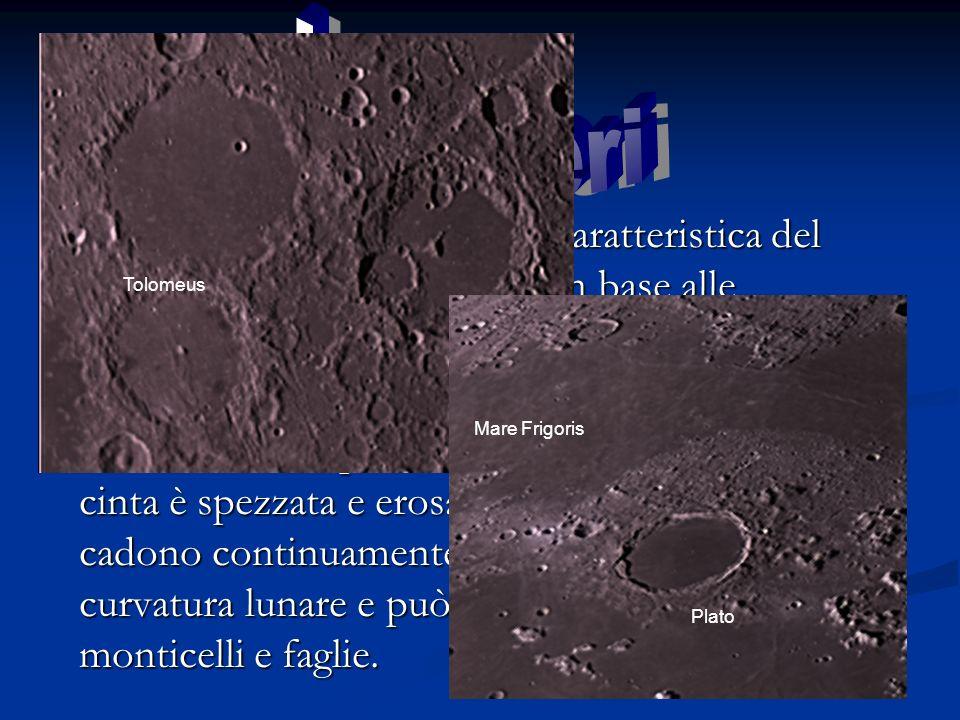 I crateri sono un importante caratteristica del suolo lunare e si classificano in base alle dimensioni I crateri sono un importante caratteristica del suolo lunare e si classificano in base alle dimensioni Gli anfiteatri sono i crateri più vasti; il loro diametro è compreso fra i 60 e 300 km, la loro cinta è spezzata e erosa dai micrometeoriti che cadono continuamente, il loro fondo segue la curvatura lunare e può presentare altri crateri, monticelli e faglie.