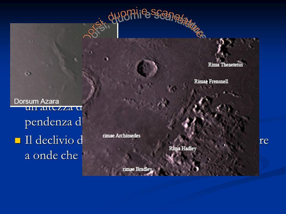 I domi e le dorsali lunari sono delle alture del diametro compreso tra i 10 e 20 Km. con un'altezza di qualche centinaio di metri e una pendenza dall'