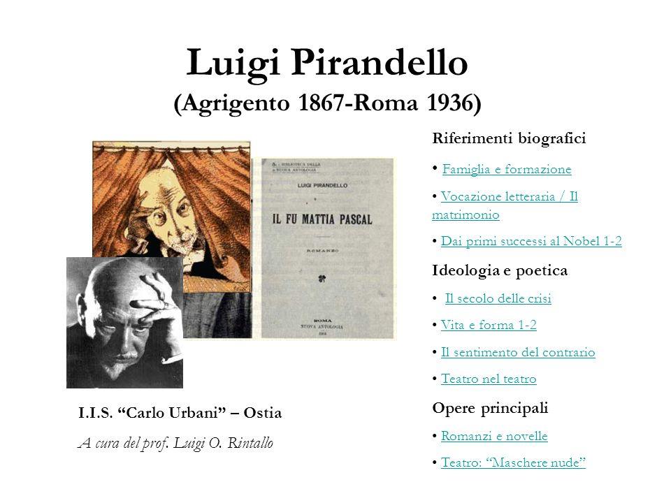 Luigi Pirandello (Agrigento 1867-Roma 1936) I.I.S. Carlo Urbani – Ostia A cura del prof. Luigi O. Rintallo Riferimenti biografici Famiglia e formazion
