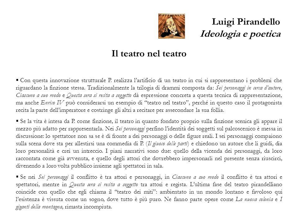 Luigi Pirandello Ideologia e poetica Il teatro nel teatro Con questa innovazione strutturale P. realizza lartificio di un teatro in cui si rappresenta