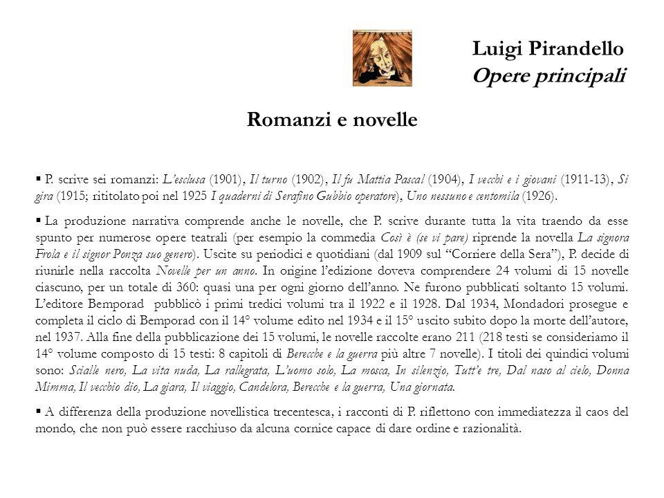 Luigi Pirandello Opere principali Romanzi e novelle P. scrive sei romanzi: Lesclusa (1901), Il turno (1902), Il fu Mattia Pascal (1904), I vecchi e i