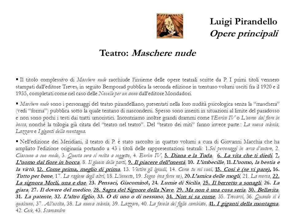 Luigi Pirandello Opere principali Teatro: Maschere nude Il titolo complessivo di Maschere nude racchiude linsieme delle opere teatrali scritte da P. I