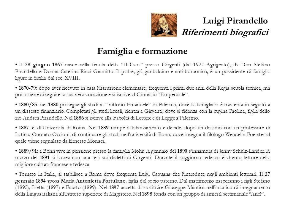 Luigi Pirandello Riferimenti biografici Famiglia e formazione Il 28 giugno 1867 nasce nella tenuta detta Il Caos presso Girgenti (dal 1927 Agrigento),