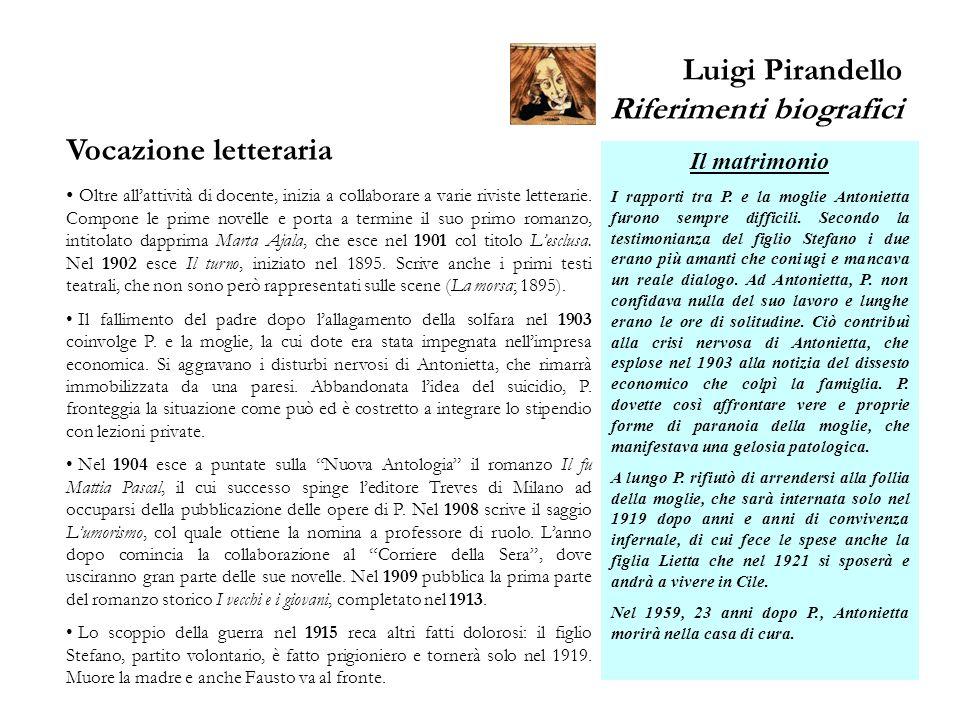 Luigi Pirandello Riferimenti biografici Vocazione letteraria Oltre allattività di docente, inizia a collaborare a varie riviste letterarie. Compone le