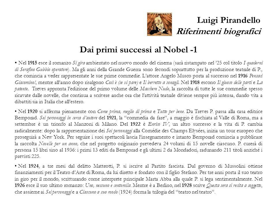Luigi Pirandello Riferimenti biografici Dai primi successi al Nobel -1 Nel 1915 esce il romanzo Si gira ambientato nel nuovo mondo del cinema (sarà ri