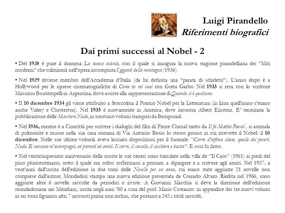 Luigi Pirandello Riferimenti biografici Dai primi successi al Nobel - 2 Del 1928 è pure il dramma La nuova colonia, con il quale si inaugura la nuova