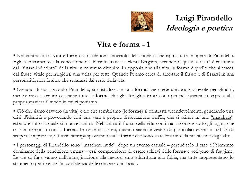 Luigi Pirandello Ideologia e poetica Vita e forma - 1 Nel contrasto tra vita e forma si racchiude il nocciolo della poetica che ispira tutte le opere