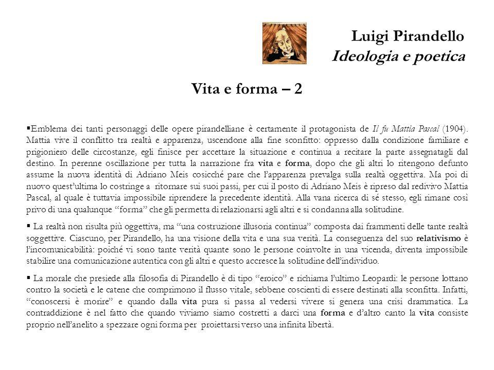 Luigi Pirandello Ideologia e poetica Vita e forma – 2 Emblema dei tanti personaggi delle opere pirandelliane è certamente il protagonista de Il fu Mat