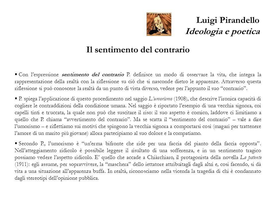 Luigi Pirandello Ideologia e poetica Il sentimento del contrario Con lespressione sentimento del contrario P. definisce un modo di osservare la vita,