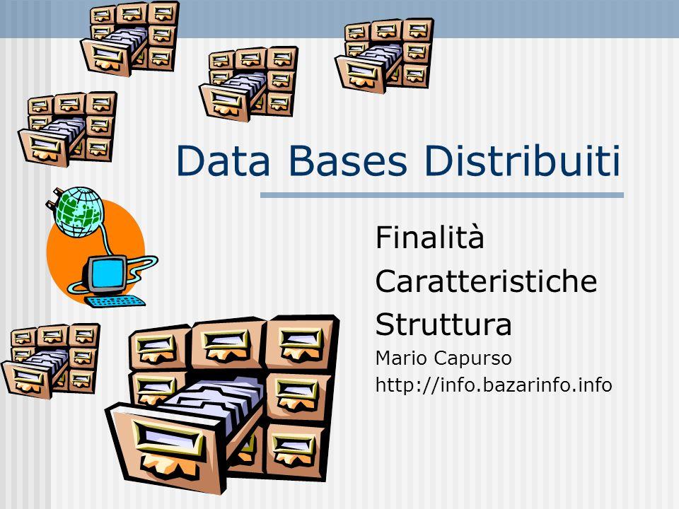 Sistema di Data Base Distribuito: Definizione 1 E una collezione di siti (detti nodi) collegati in rete in cui Ogni sito è un sistema di data base I siti hanno concordato di cooperare in maniera che un utente in ciascun sito possa accedere a qualsiasi informazione su uno dei siti come se essa fosse memorizzata sul proprio sito