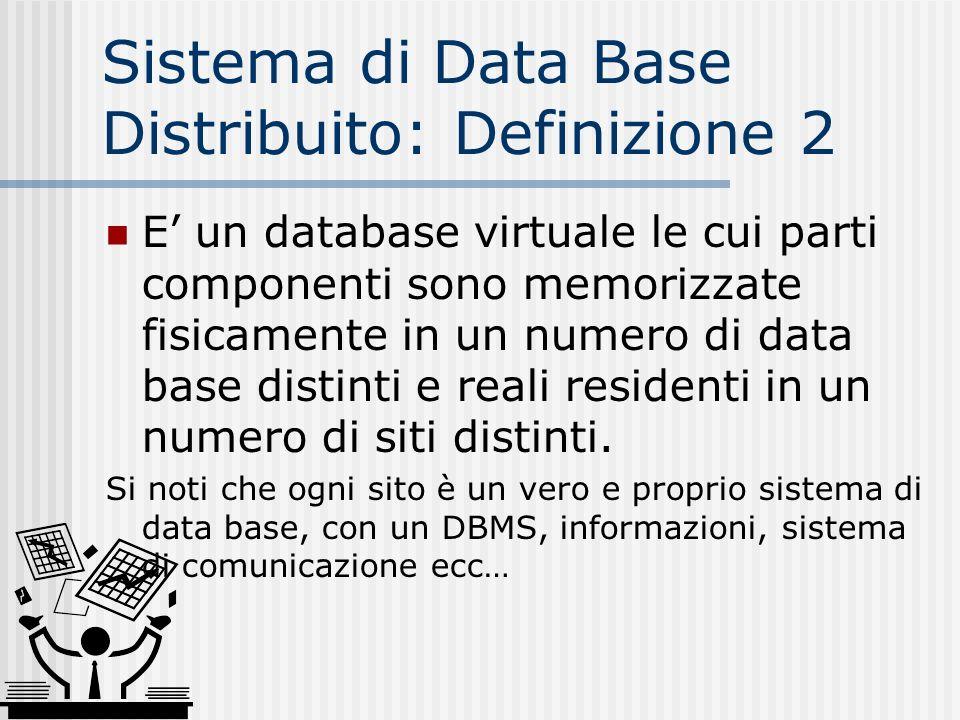 Omogeneo ed Eterogeneo Un D-DBMS è omogeneo se ogni sito usa la stessa versione di DBMS Un D-DBMS è eterogeneo se i siti usano diverse versioni di DBMS