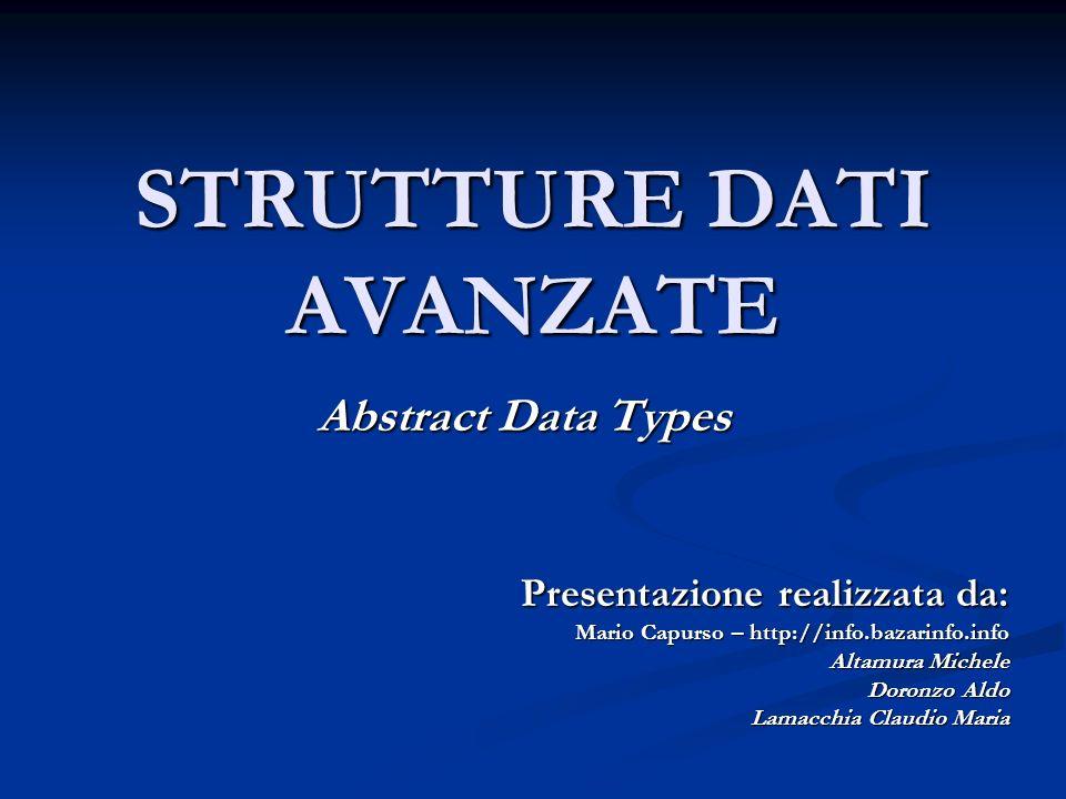 STRUTTURE DATI AVANZATE Abstract Data Types Presentazione realizzata da: Mario Capurso – http://info.bazarinfo.info Altamura Michele Doronzo Aldo Lama
