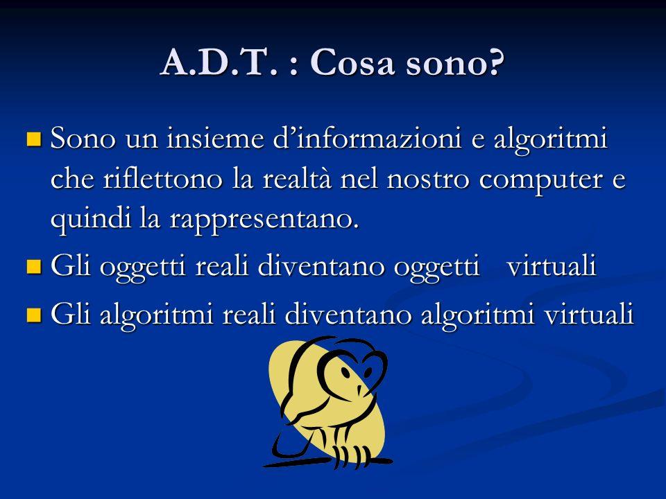 A.D.T. : Cosa sono? Sono un insieme dinformazioni e algoritmi che riflettono la realtà nel nostro computer e quindi la rappresentano. Sono un insieme