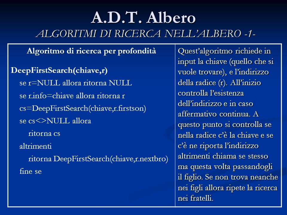 A.D.T. Albero ALGORITMI DI RICERCA NELLALBERO -1- Algoritmo di ricerca per profondità DeepFirstSearch(chiave,r) se r=NULL allora ritorna NULL se r.inf