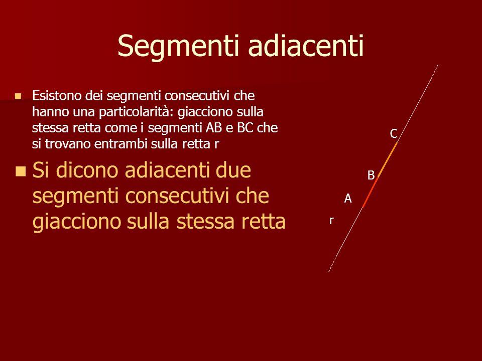 Segmenti adiacenti Esistono dei segmenti consecutivi che hanno una particolarità: giacciono sulla stessa retta come i segmenti AB e BC che si trovano