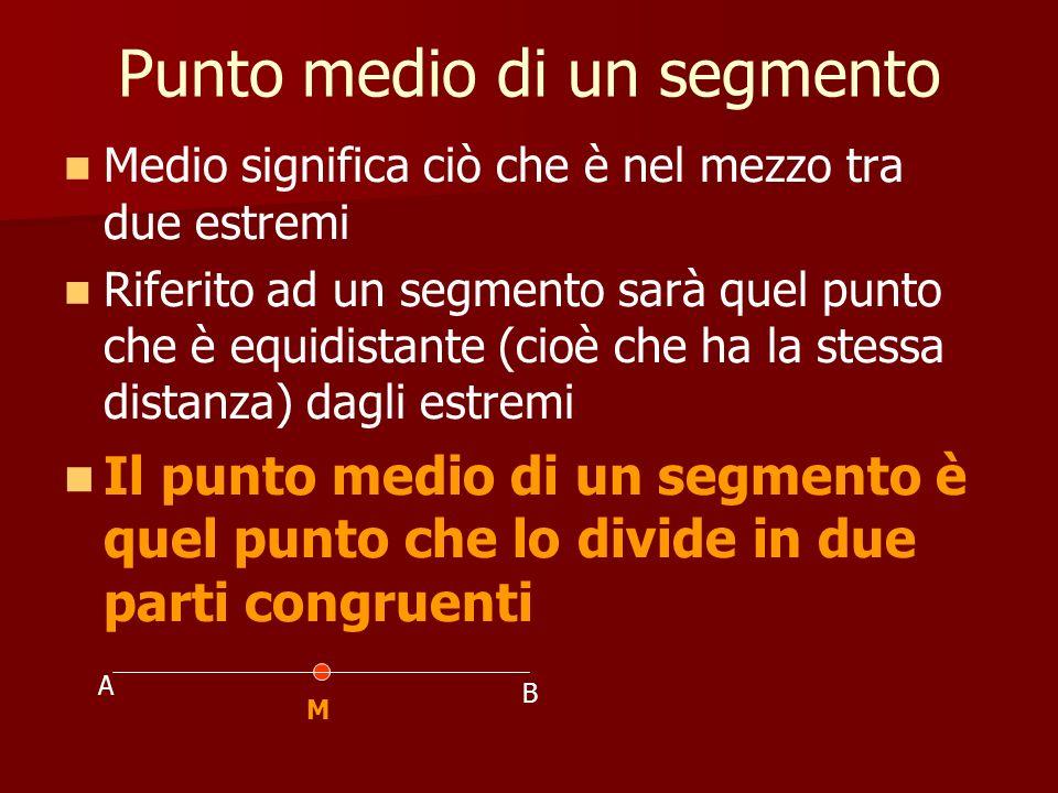 Punto medio di un segmento Medio significa ciò che è nel mezzo tra due estremi Riferito ad un segmento sarà quel punto che è equidistante (cioè che ha
