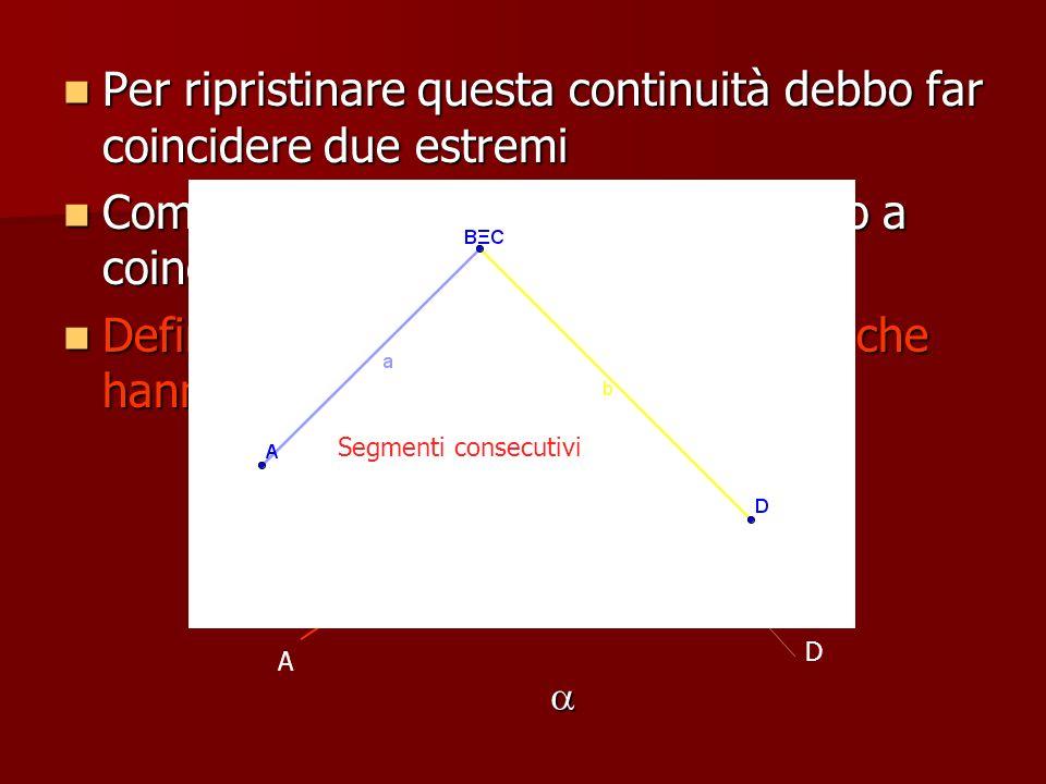 Per ripristinare questa continuità debbo far coincidere due estremi Come si vede gli estremi B e C vanno a coincidere Definiamo consecutivi due segmen