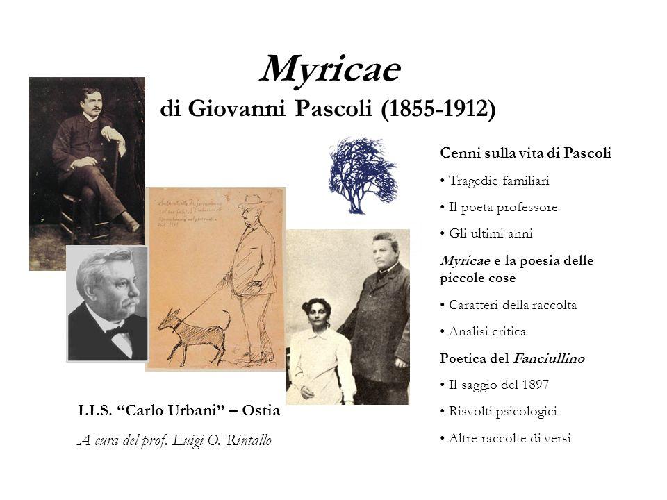 Myricae di Giovanni Pascoli (1855-1912) I.I.S. Carlo Urbani – Ostia A cura del prof. Luigi O. Rintallo Cenni sulla vita di Pascoli Tragedie familiari