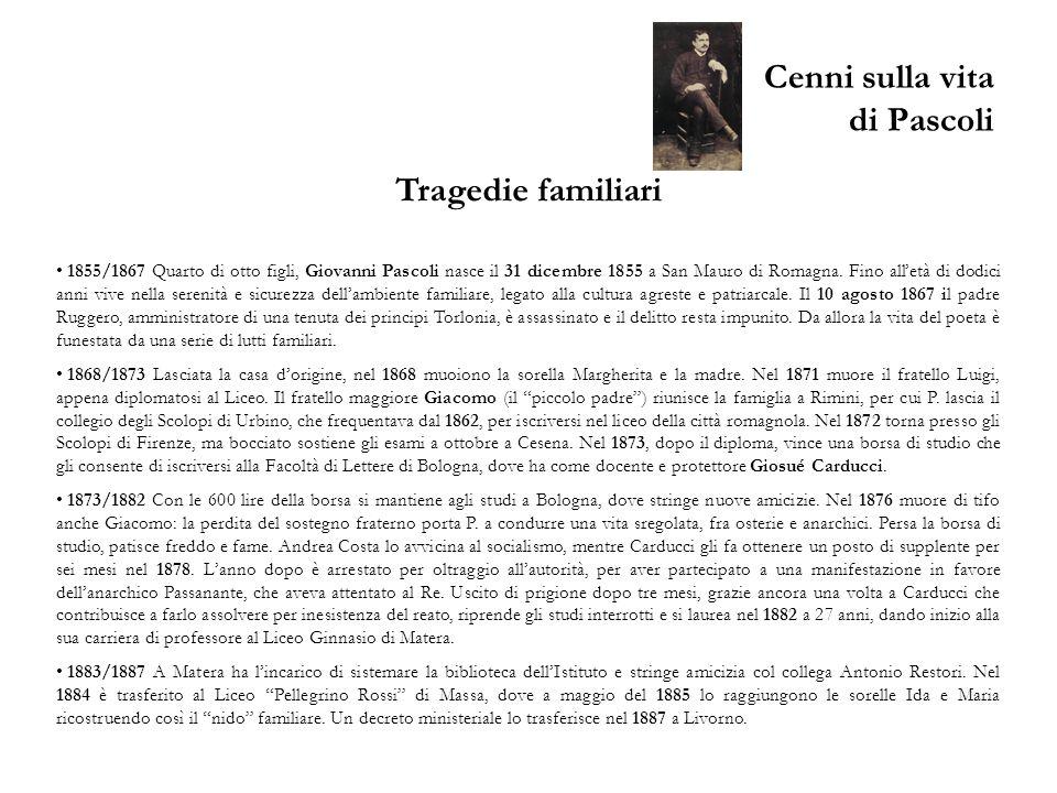Cenni sulla vita di Pascoli Tragedie familiari 1855/1867 Quarto di otto figli, Giovanni Pascoli nasce il 31 dicembre 1855 a San Mauro di Romagna. Fino