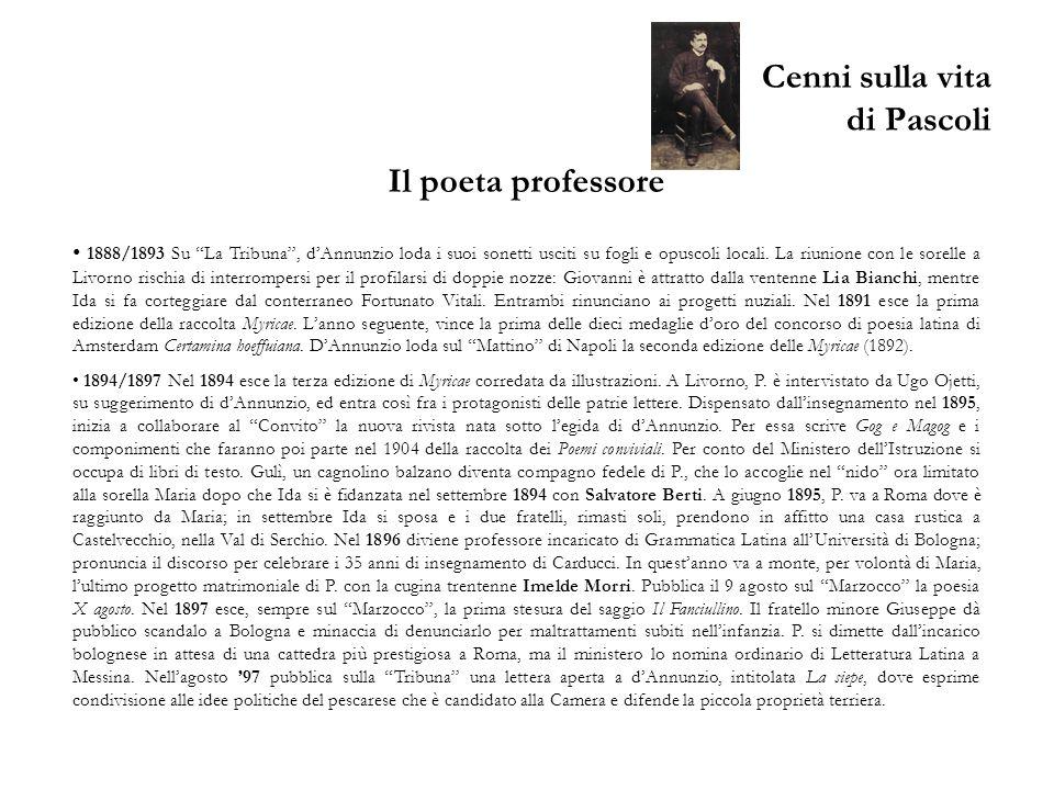 Cenni sulla vita di Pascoli Il poeta professore 1888/1893 Su La Tribuna, dAnnunzio loda i suoi sonetti usciti su fogli e opuscoli locali. La riunione