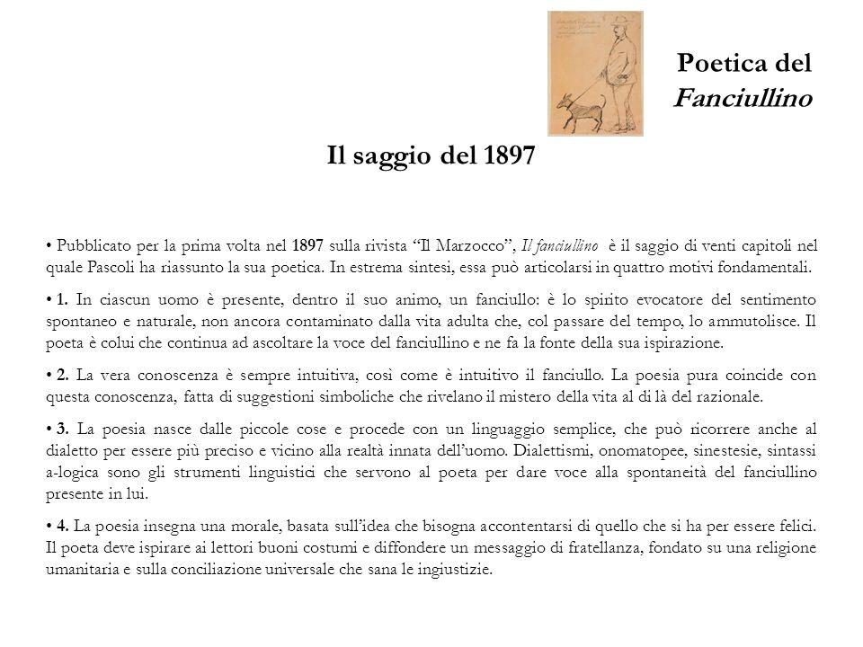 Poetica del Fanciullino Il saggio del 1897 Pubblicato per la prima volta nel 1897 sulla rivista Il Marzocco, Il fanciullino è il saggio di venti capit