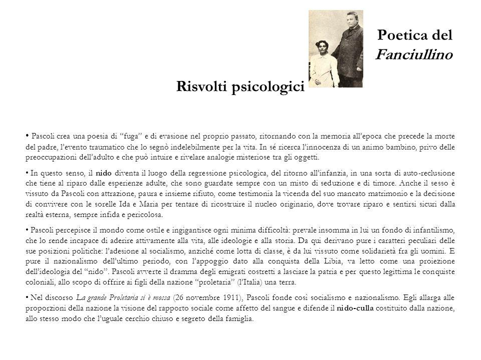 Poetica del Fanciullino Altre raccolte di versi Poemetti – Usciti nel 1897, furono in seguito divisi in Primi poemetti (1904) e Nuovi poemetti (1909).