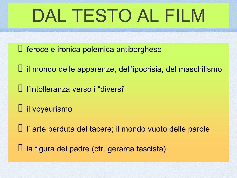 DAL TESTO AL FILM f eroce e ironica polemica antiborghese i l mondo delle apparenze, dellipocrisia, del maschilismo l intolleranza verso i diversi i l