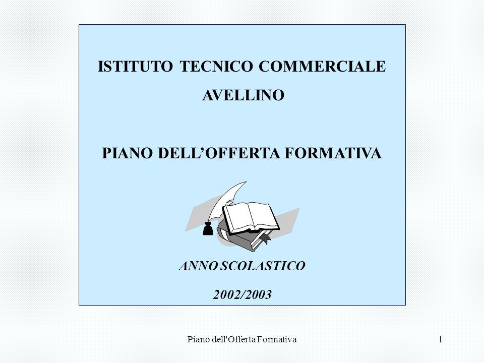 Piano dell Offerta Formativa1 ISTITUTO TECNICO COMMERCIALE AVELLINO PIANO DELLOFFERTA FORMATIVA ANNO SCOLASTICO 2002/2003