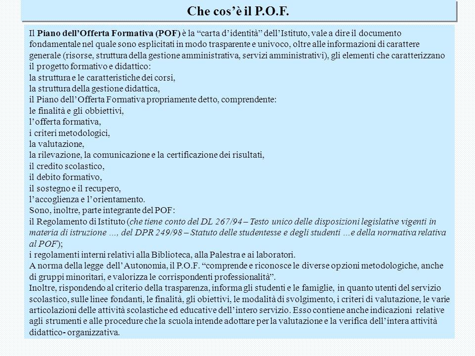 Piano dell Offerta Formativa6 Che cosè il P.O.F.