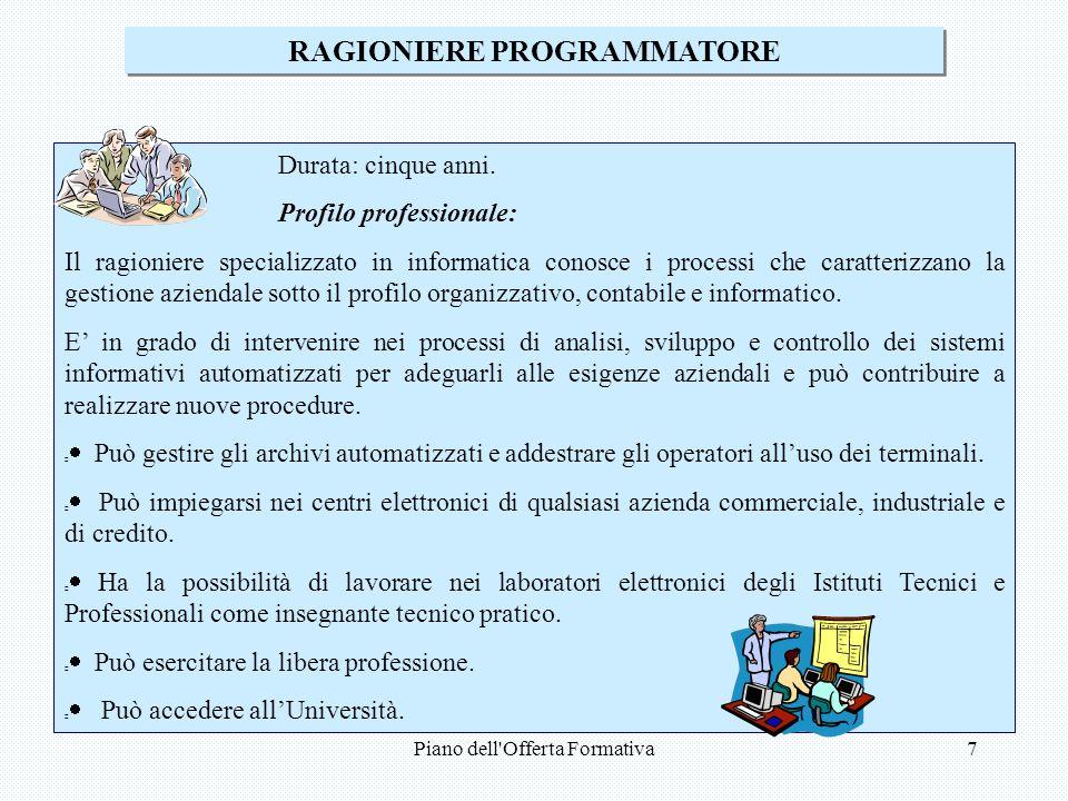 Piano dell Offerta Formativa7 RAGIONIERE PROGRAMMATORE Durata: cinque anni.
