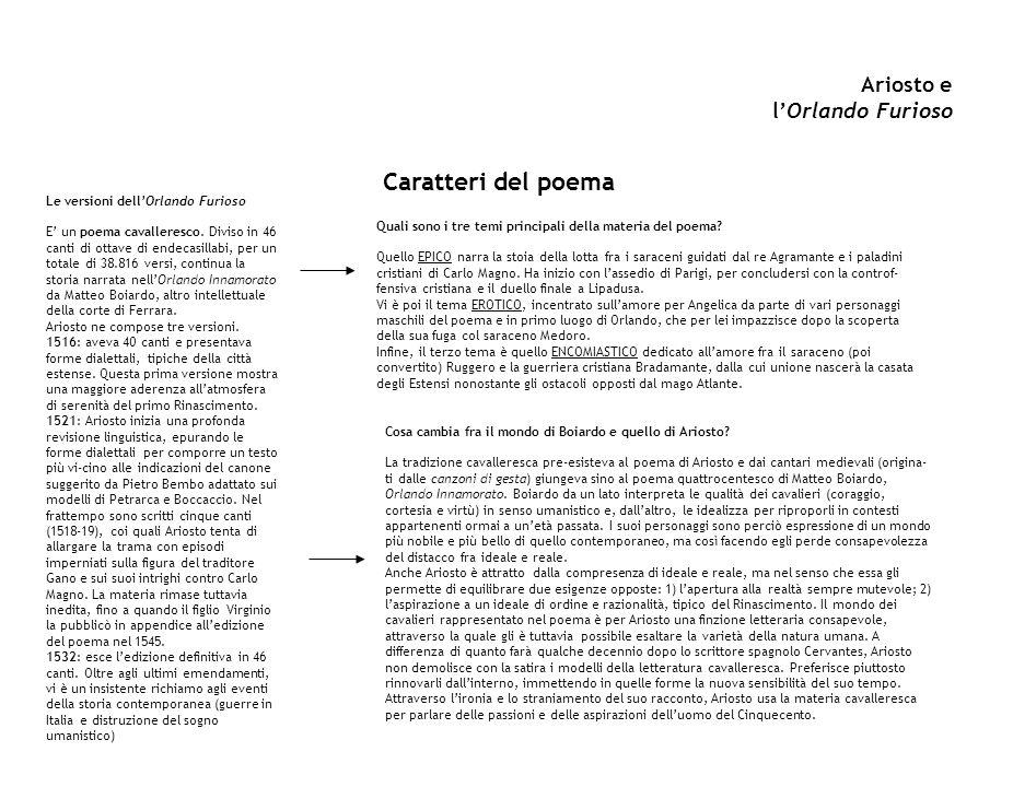 Ariosto e lOrlando Furioso Caratteri del poema Le versioni dellOrlando Furioso E un poema cavalleresco. Diviso in 46 canti di ottave di endecasillabi,