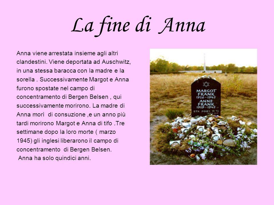 La fine di Anna Anna viene arrestata insieme agli altri clandestini. Viene deportata ad Auschwitz, in una stessa baracca con la madre e la sorella. Su